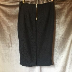 NWOT Zara Black Lace Pencil Zipper Skirt